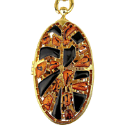 Big Oval Enamel Perfume Open Locket Pendant Necklace
