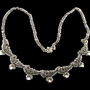 Vintage Sterling Silver Marcasite Garland Festoon Necklace
