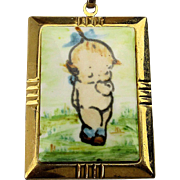 Vintage Hand-Painted KEWPIE Baby on Porcelain Pendant Necklace