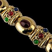 Wide Jeweled Bracelet w/ Jewel Tone Stones