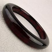 Old Red Cherry Amber Bakelite Bangle Bracelet Translucent