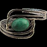Modernist Sterling Silver Cuff Bracelet w/ Big Green Eilat Stone