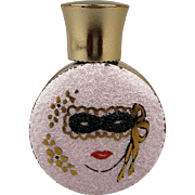 Art Deco Era Enamel Perfume Bottle w/ Masked Lady 1940s