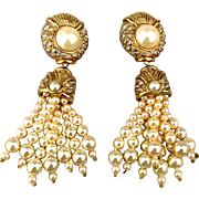 Bold Vogue Bijoux Faux Pearls Rhinestone Earrings - Runway Glam