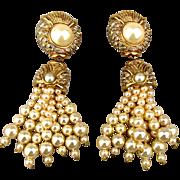 Bold Vogue Bijoux Faux Pearls Rhinestone Earrings - Runway Glam
