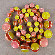 Crazy Colorful Fused Lucite Ball Bead Necklace