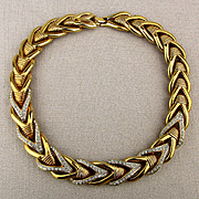 1980s Bold Heavy Gilt Rhinestone Necklace - Stunning