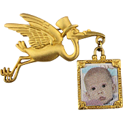 Signed J.J. Stork Baby Picture Pin Brooch