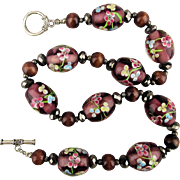 Big Chunky Glass Bead Necklace w/ Imbedded Painted Flowers
