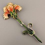 Bob Mackie Enamel Rhinestone Flower Pin Brooch