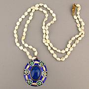 Vintage Freshwater Pearl Necklace w/ Silver Enamel Lapis Pendant