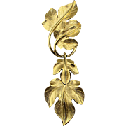 Vintage Trifari Kunio Matsumoto Leaf Brooch Pin - Gilded Dangles