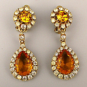 Vintage CINER Rhinestone Drop Earrings - Gorgeous Clips