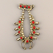 Old Pawn Sterling Silver Pin Brooch Miniature Squash Blossom Necklace w/ Red Coral