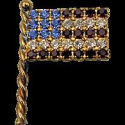 Eisenberg Ice Rhinestone American Flag Pin Patriotic Vintage Brooch