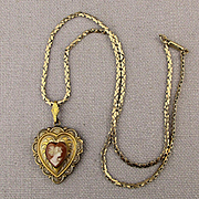 Art Deco Era Gold-Filled Cameo Heart Locket Necklace