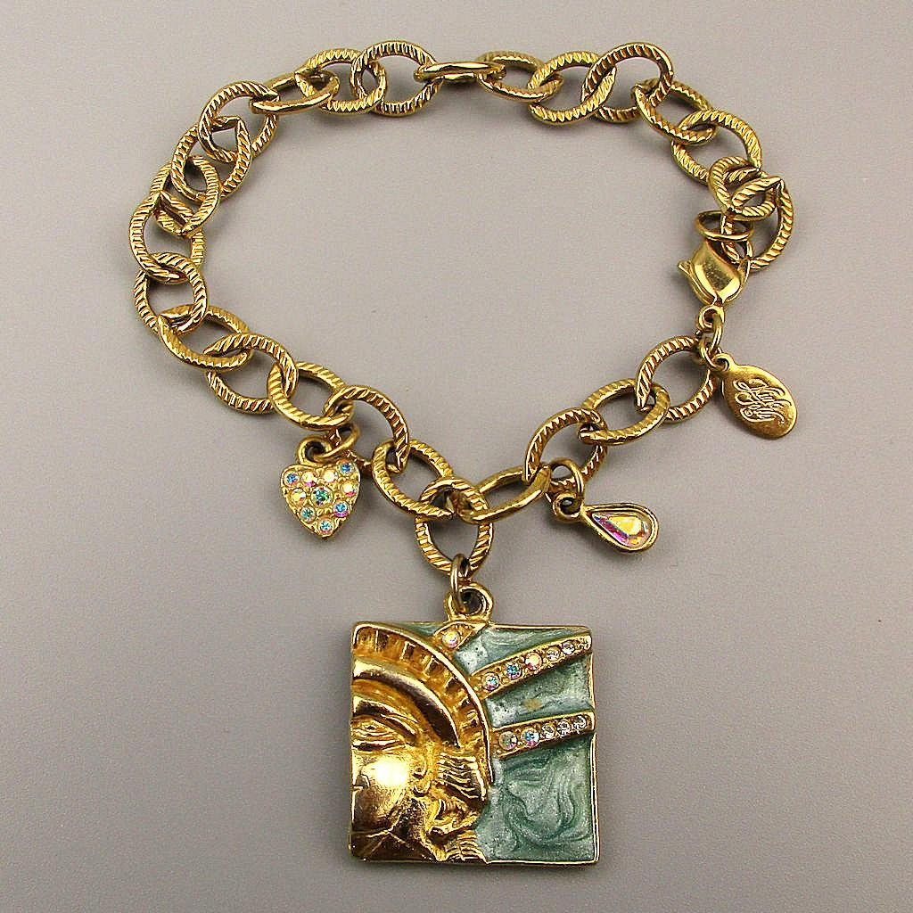 Patriotic Statue of Liberty Charm Bracelet Vintage Kirks Folly