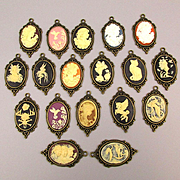 Vintage Set 18 Cameo Charms Pendants