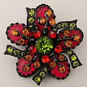 Gorgeous Colorful Rhinestone Pin Brooch on Black Niello Enamel