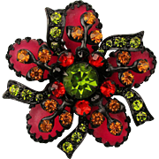 Gorgeous Colorful Rhinestone Pin Brooch on Black Niello Enamel