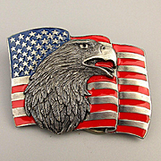 Vintage EAGLE FLAG Siskiyou Belt Buckle Enamel Red White Blue