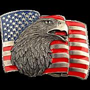 Vintage EAGLE FLAG Siskiyou Belt Buckle Enamel Red White Blue
