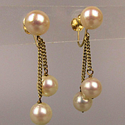 Estate 14K Gold Earrings w/ Dangling Pearls