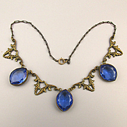 Art Deco Beveled Glass in Stamped Brass Necklace - Old Czech