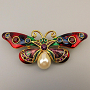 Vintage Joan Rivers Enamel Jeweled Butterfly Pin Brooch