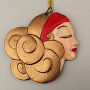 Deco Style Porcelain Ceramic FACE Pendant Necklace