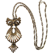 Signed TORINO Figural Owl Pendant Necklace
