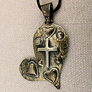 Signed Mexican Sterling Silver Pendant Necklace Love - Faith