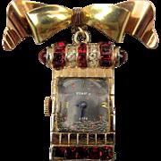 Art Deco Gold-Filled ROXY 17 Jewel Watch Pin Brooch w/ Rhinestones