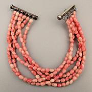 Vintage 6 Strand Coral Bead Bracelet w/ Sterling Slide Clasp