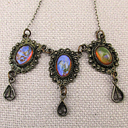 Old Dragon Breath Glass Opal Necklace 800 Sterling w/ Dangles