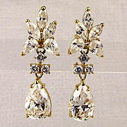 1980s Faux Diamond Crystal Drop Earrings Gilded Sterling Silver