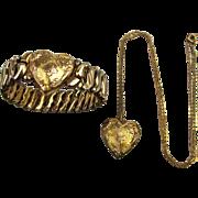 1942 Sweetheart HEART Jewelry Set Stretch Bracelet - Locket Necklace G.F.