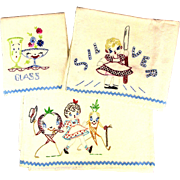 1930s Set of 3 Large Linen Kitchen Towels Embroidered: Anthropomorphic Veggies Glass Girls