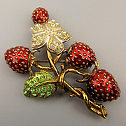 Berebi Limited Edition Enamel Rhinestone Strawberry Pin Brooch