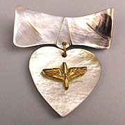 WW11 Mother-of-Pearl WINGS Pin 1940s Sweetheart Jewelry Heart