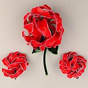 1960s Enamel Flower Set - Red Petal Cluster Pin w/ Earrings