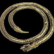 Vintage Mesh Snake Necklace - Belt - Red Rhinestone Eyes