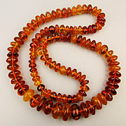 Big Genuine Baltic Amber Bead Necklace - 174 Grams 40 inches w/ Inclusions