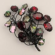 Vintage Japanned Wire Pin w/ Big See-Thru Rhinestones