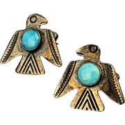 Old Navajo Sterling Silver Turquoise Eagle Pin Set Mini Birds