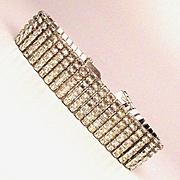 Gorgeous Signed PHYLLIS 5-Row Rhinestone Crystal Bracelet