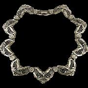 Art Deco Era  Silvertone Necklace Ornate Links