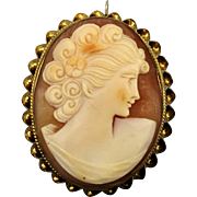 Old Gold-Filled Cameo Pin Pendant Carved Shell Beauty