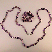 Amethyst Nugget Long Necklace w/ Matching Stretch Bracelet