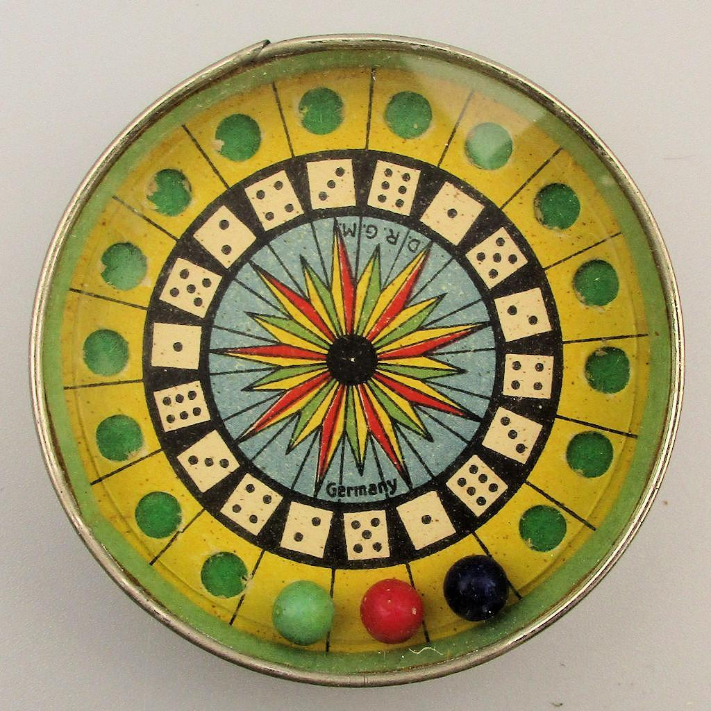 Old 1920s Germany Dice Puzzle Game w/ Mirror